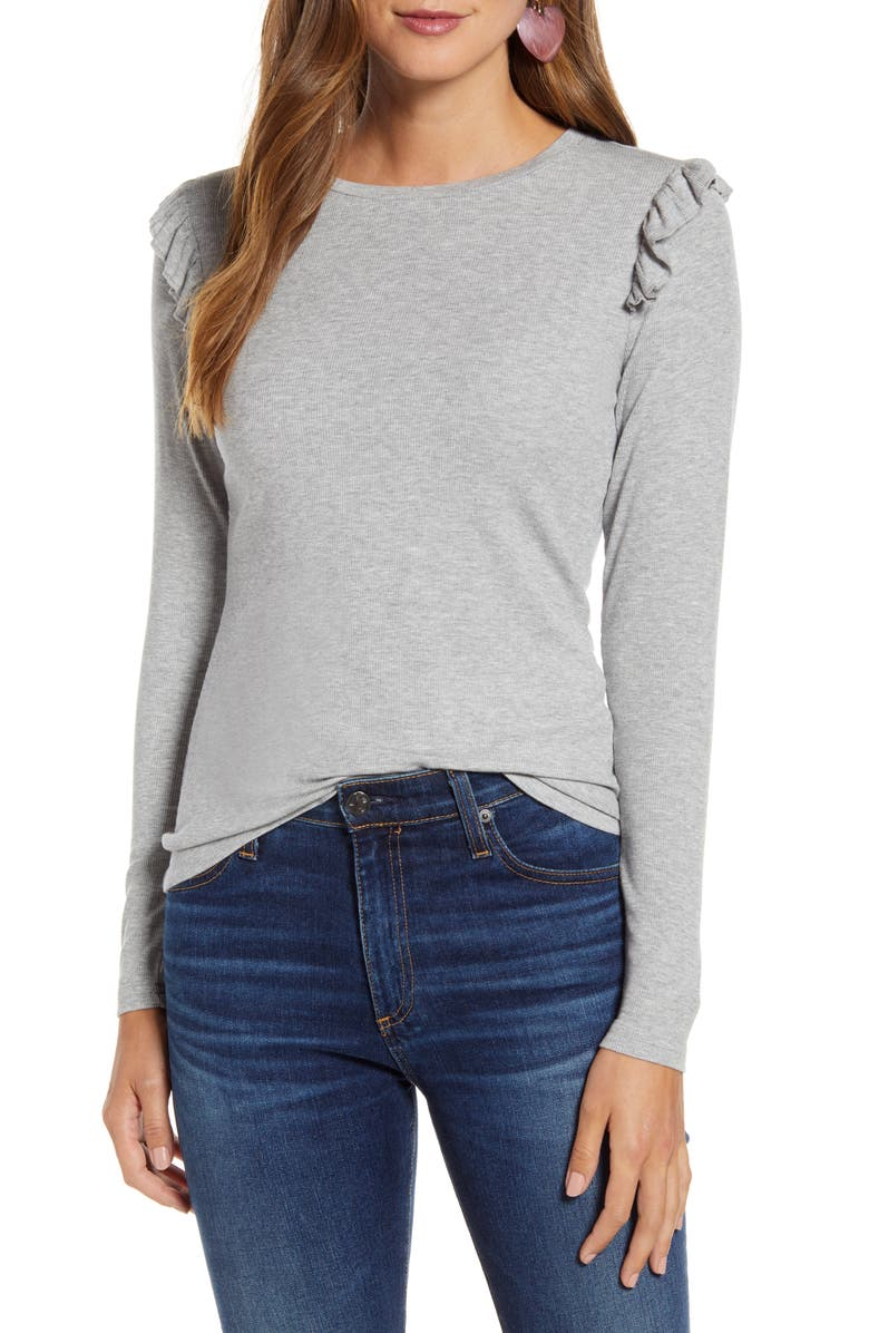 RACHEL PARCELL Pretty Shoulder Slim Sweater, Main, color, GREY HEATHER