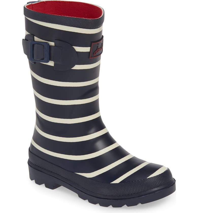 JOULES Mid Height Print Welly Rain Boot, Main, color, FRENCH NAVY STRIPE