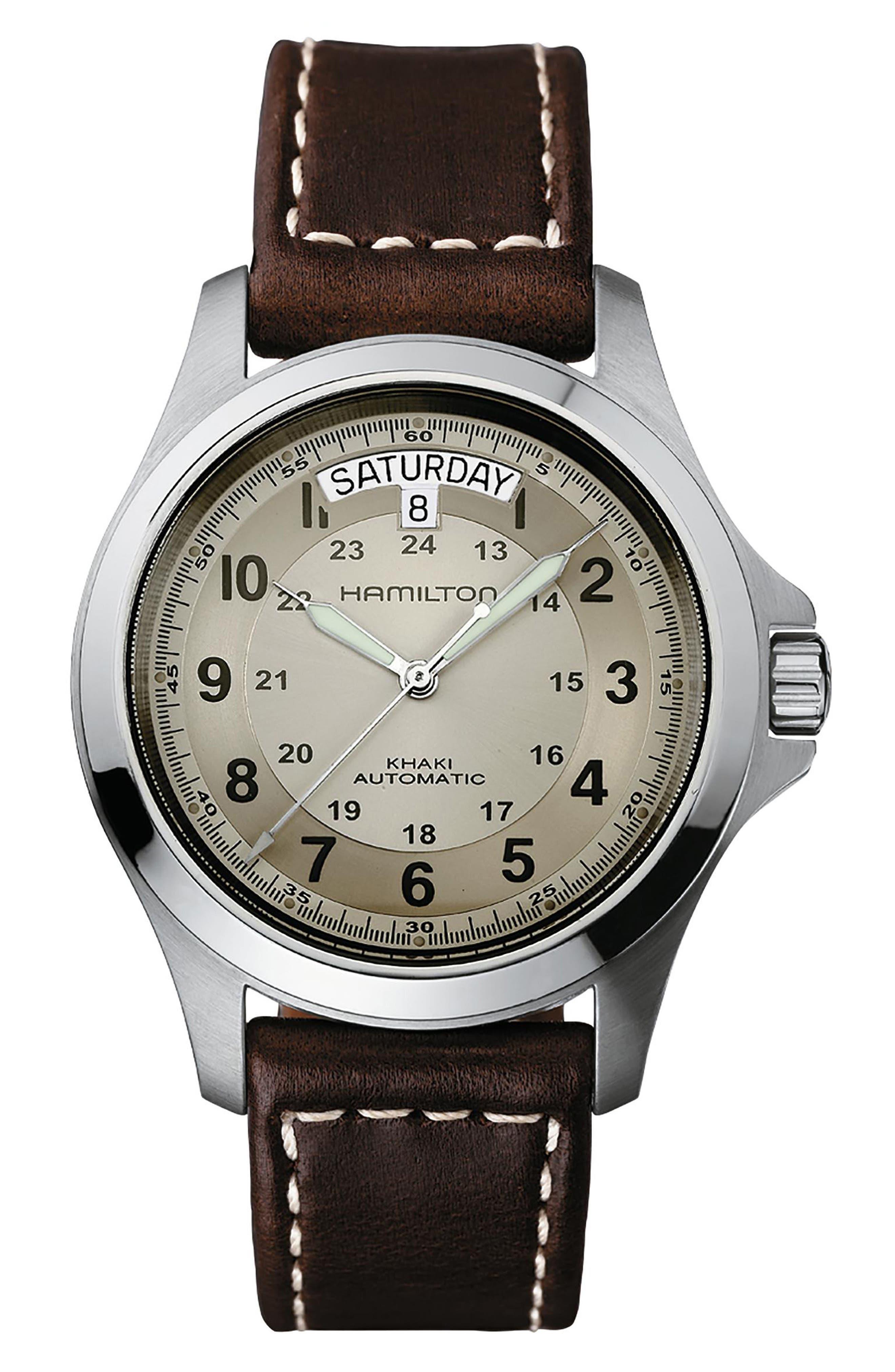 Khaki Field King Automatic Leather Strap Watch