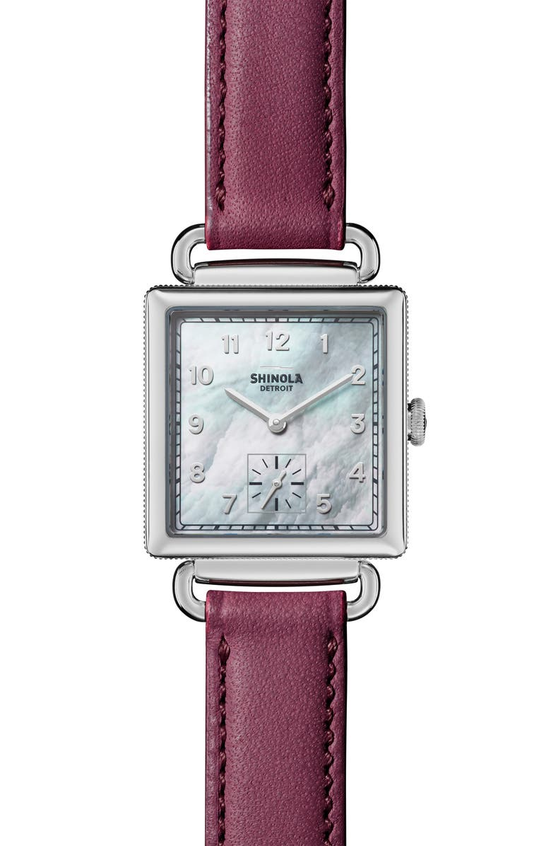 SHINOLA Cass Leather Strap Watch, 28mm, Main, color, BERRY/ WHITE MOP/ SILVER