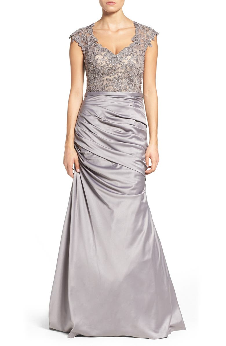 LA FEMME Embellished Lace & Satin Mermaid Gown, Main, color, SILVER