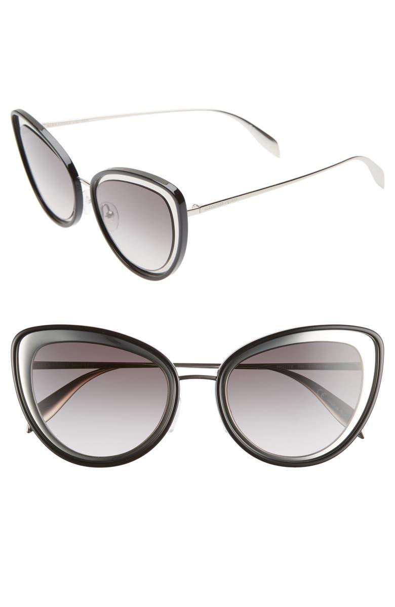 ALEXANDER MCQUEEN 54mm Gradient Cat Eye Sunglasses, Main, color, BLACK/ SILVER
