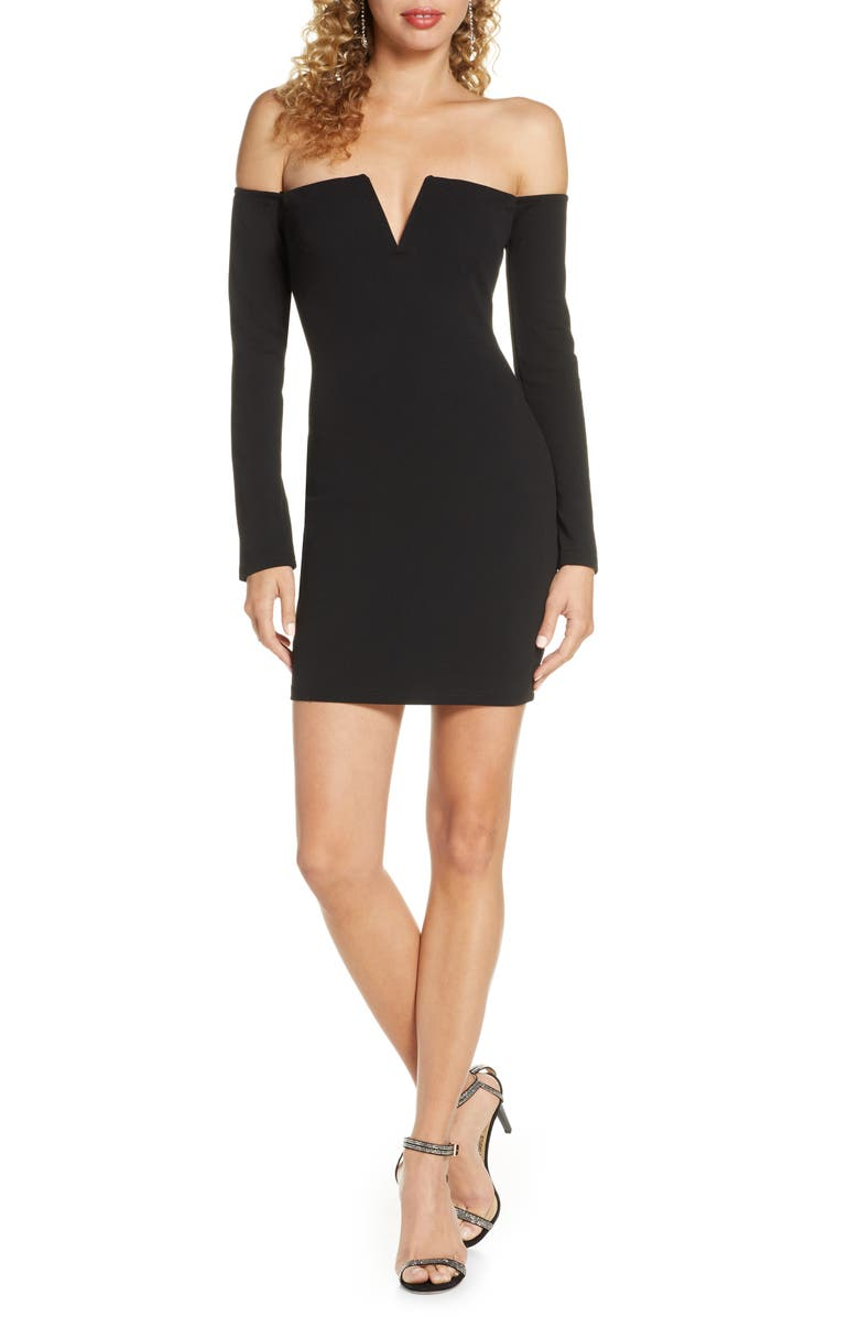 LULUS Off the Shoulder Long Sleeve Body-Con Minidress, Main, color, BLACK