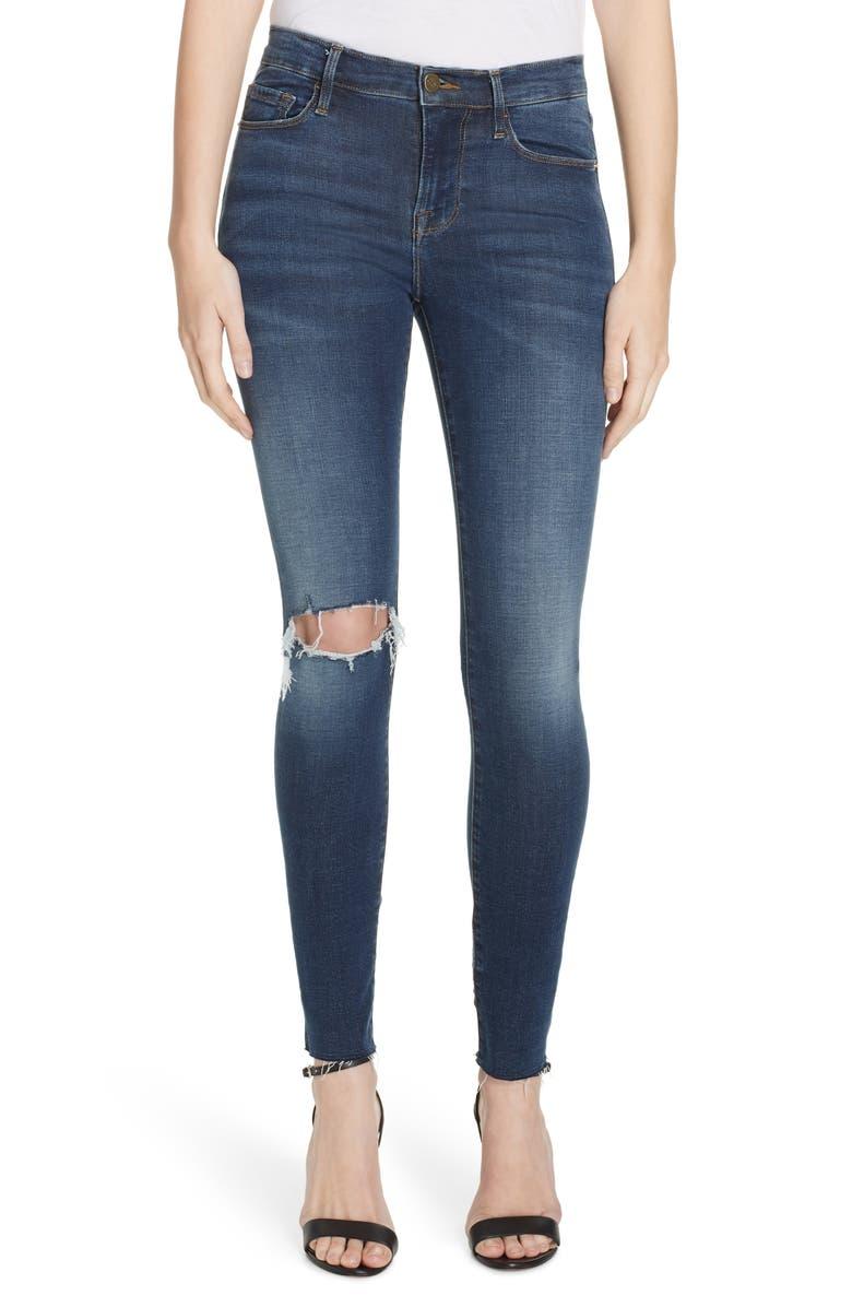 FRAME Le Skinny de Jeanne Ripped Raw Hem Ankle Jeans, Main, color, 402