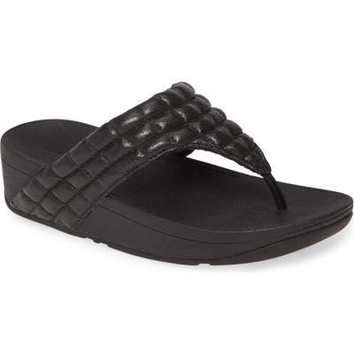 Fitflop Lulu Padded Shimmy Suede Flip Flop, Black