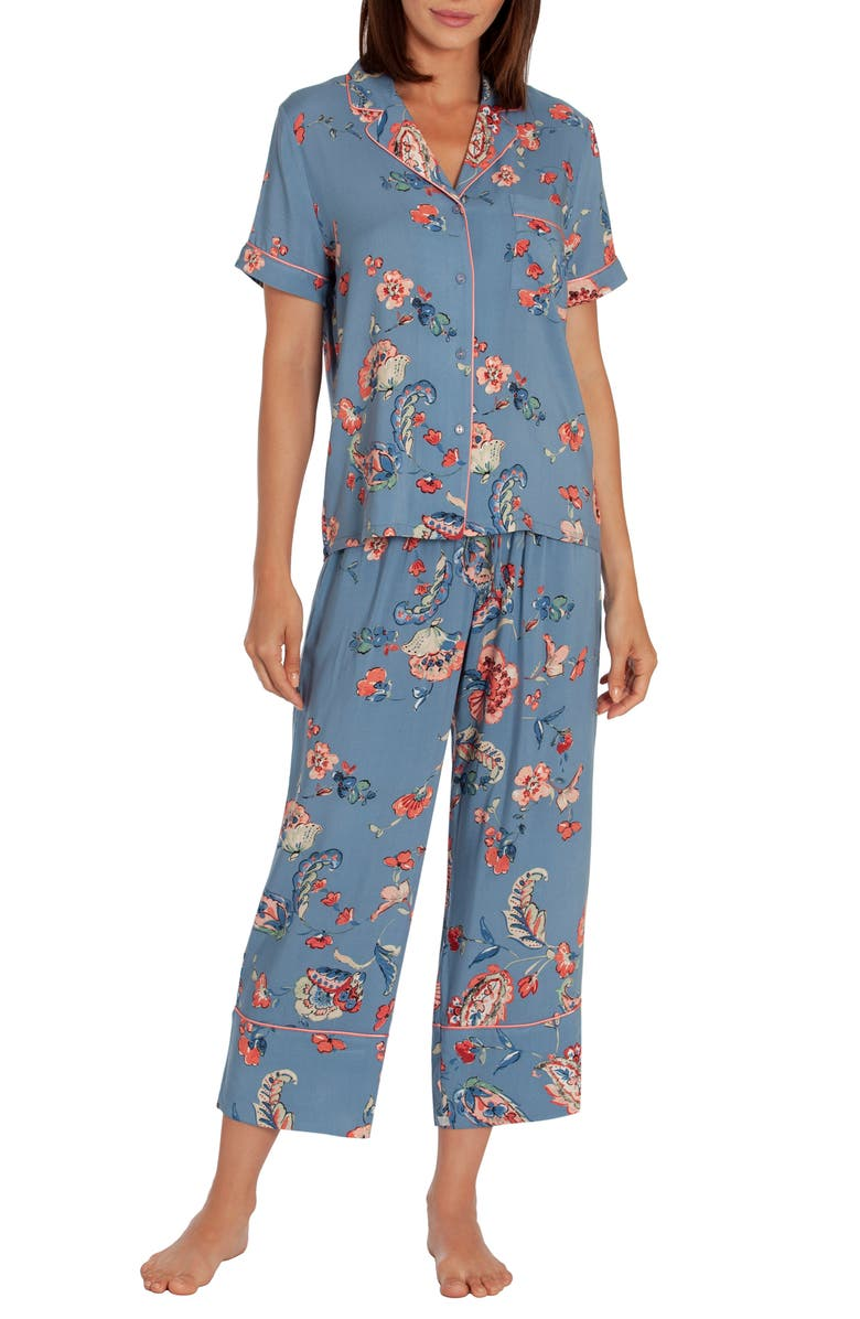 IN BLOOM BY JONQUIL Crop Pajamas, Main, color, EVERLASTING-BLUE