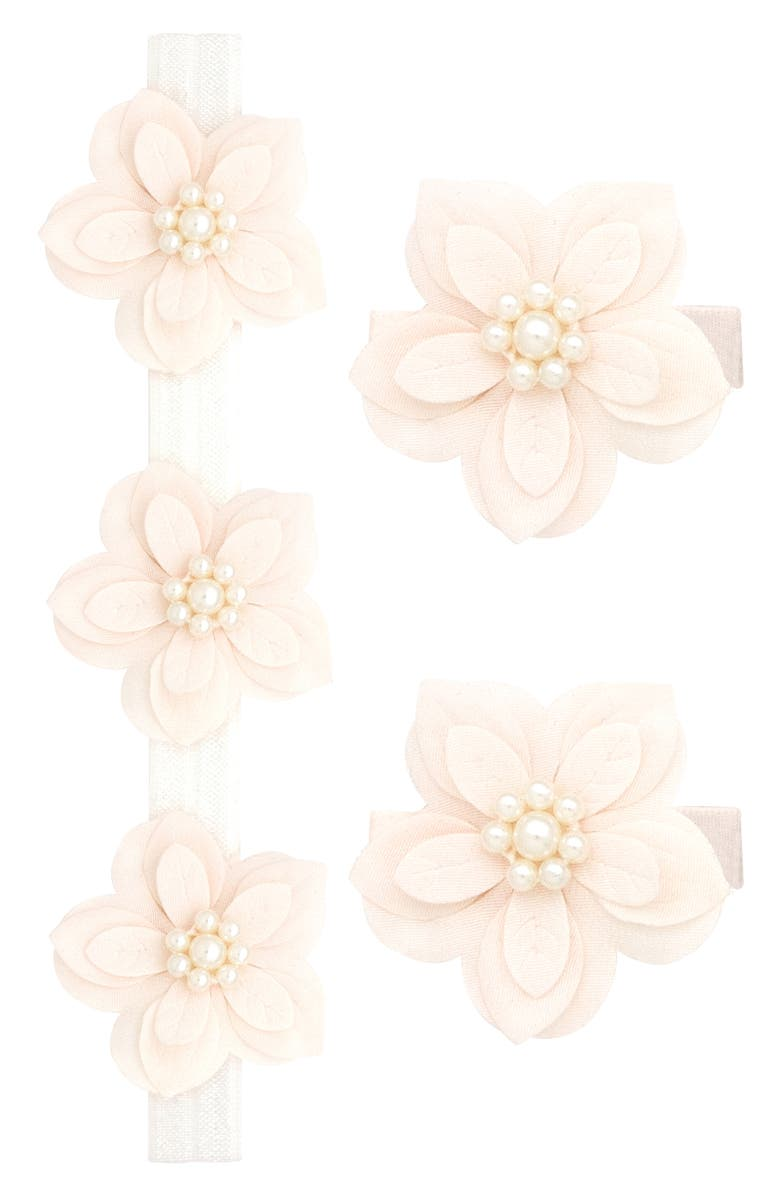 PLH BOWS Imitation Pearl Flower Headband & Hair Clips, Main, color, 650