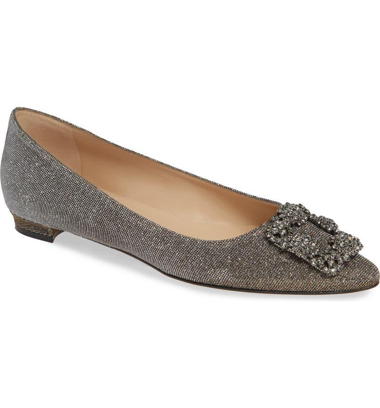 MANOLO BLAHNIK 'Hangisi' Jeweled Pointy Toe Flat, Main, color, 639 BRONZE