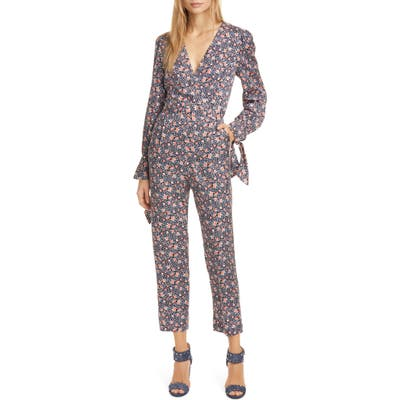 Rebecca Taylor Twilight Floral Long Sleeve Silk Blend Jumpsuit, Blue