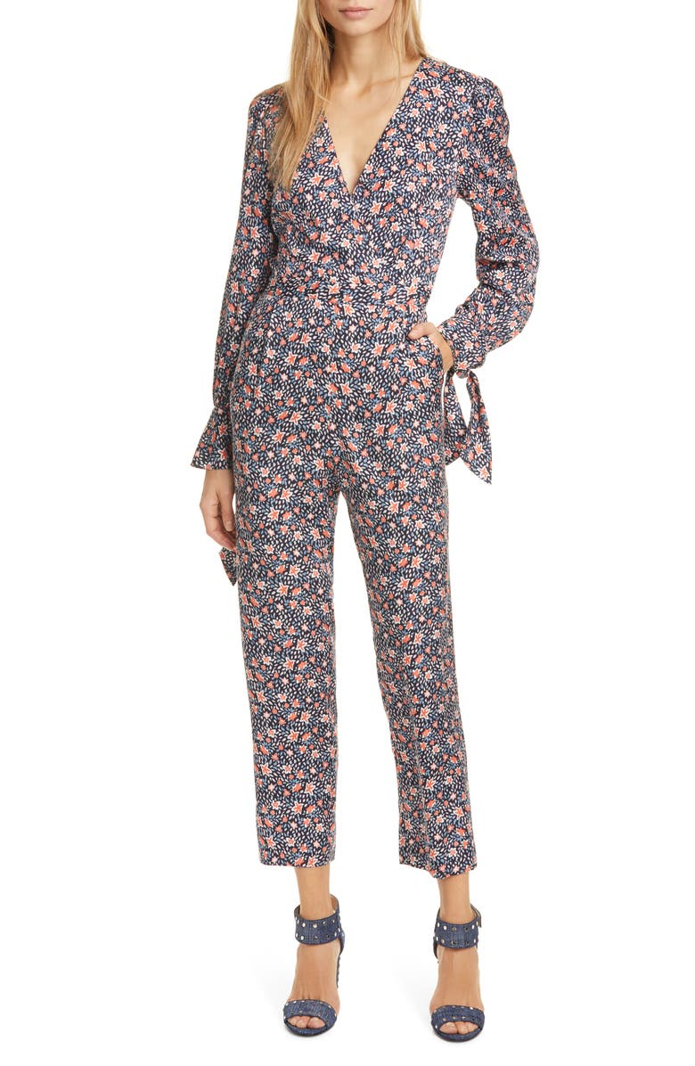 REBECCA TAYLOR Twilight Floral Long Sleeve Silk Blend Jumpsuit, Main, color, DARK NAVY COMBO