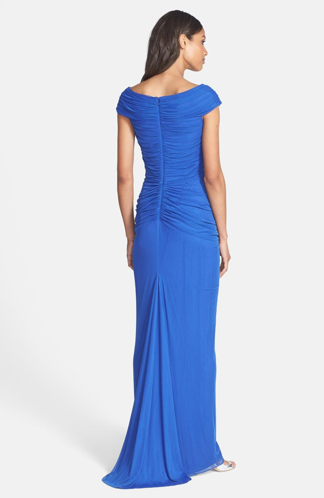 ,                             Ruched Mesh Gown,                             Alternate thumbnail 11, color,                             457