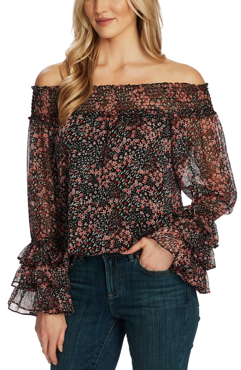 CECE Ditsy Blossom Off the Shoulder Chiffon Blouse, Main, color, 001