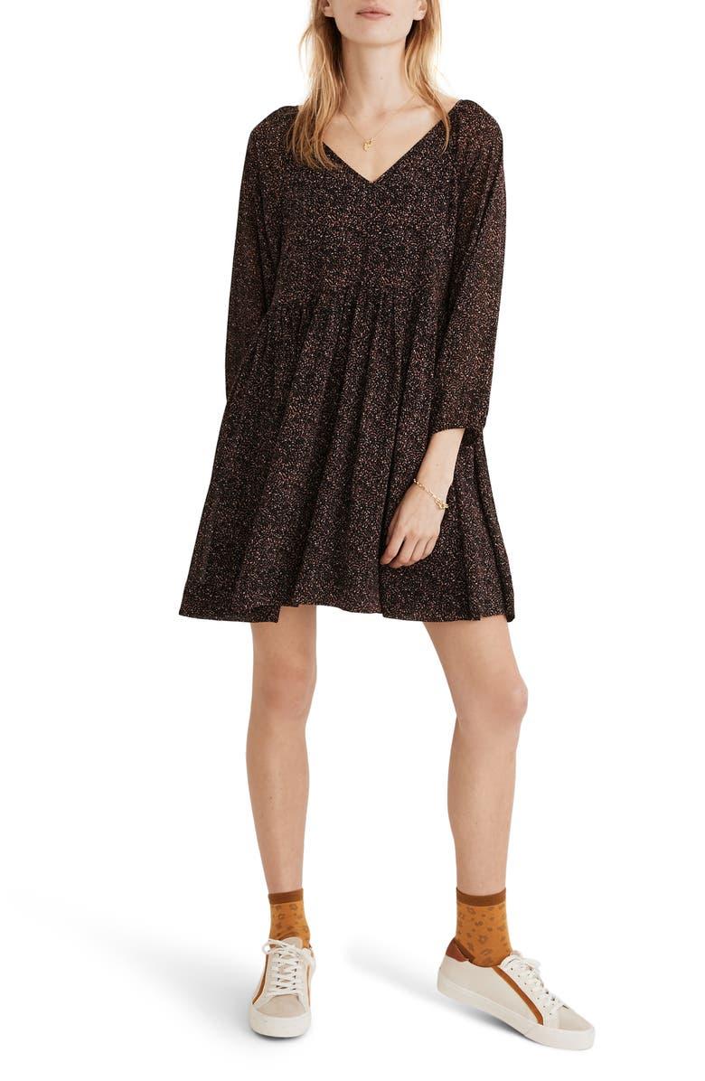 MADEWELL Crinkle Georgette V-Neck Babydoll Dress, Main, color, BRUSHED TEXTURE