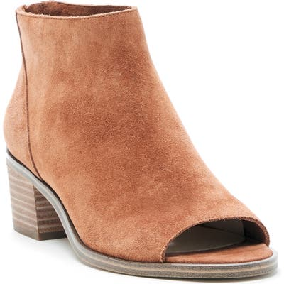 Sole Society Tabbie Open Toe Bootie- Brown