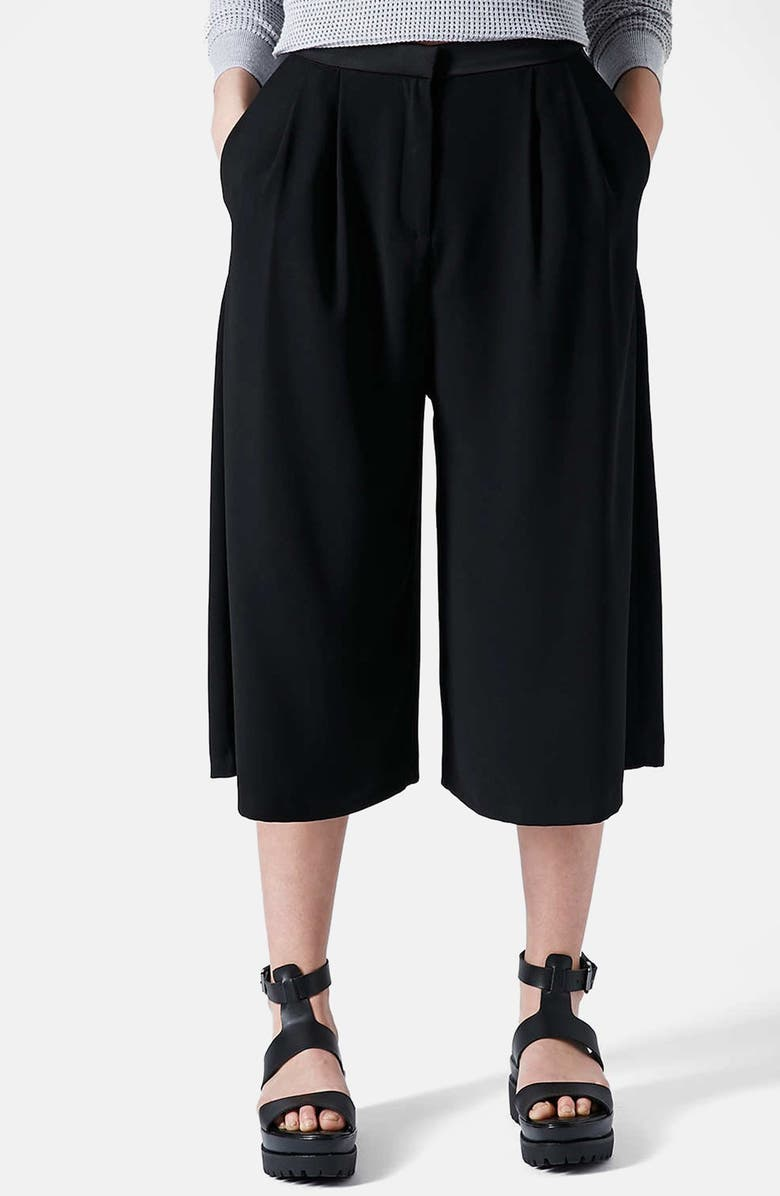 TOPSHOP Crepe Gaucho Pants, Main, color, 001