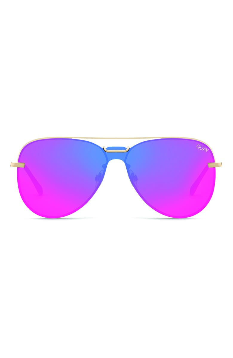 QUAY AUSTRALIA Notorious 56mm Aviator Sunglasses, Main, color, GOLD/ PINK
