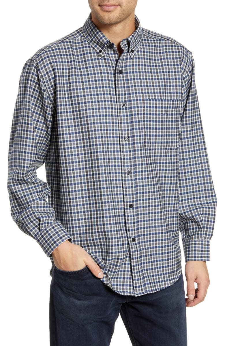 PENDLETON Regular Fit Button-Down Wool Shirt, Main, color, BLUE SMALL CHECK