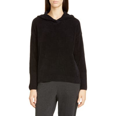 Eileen Fisher Hooded Boxy Organic Cotton Top, Black