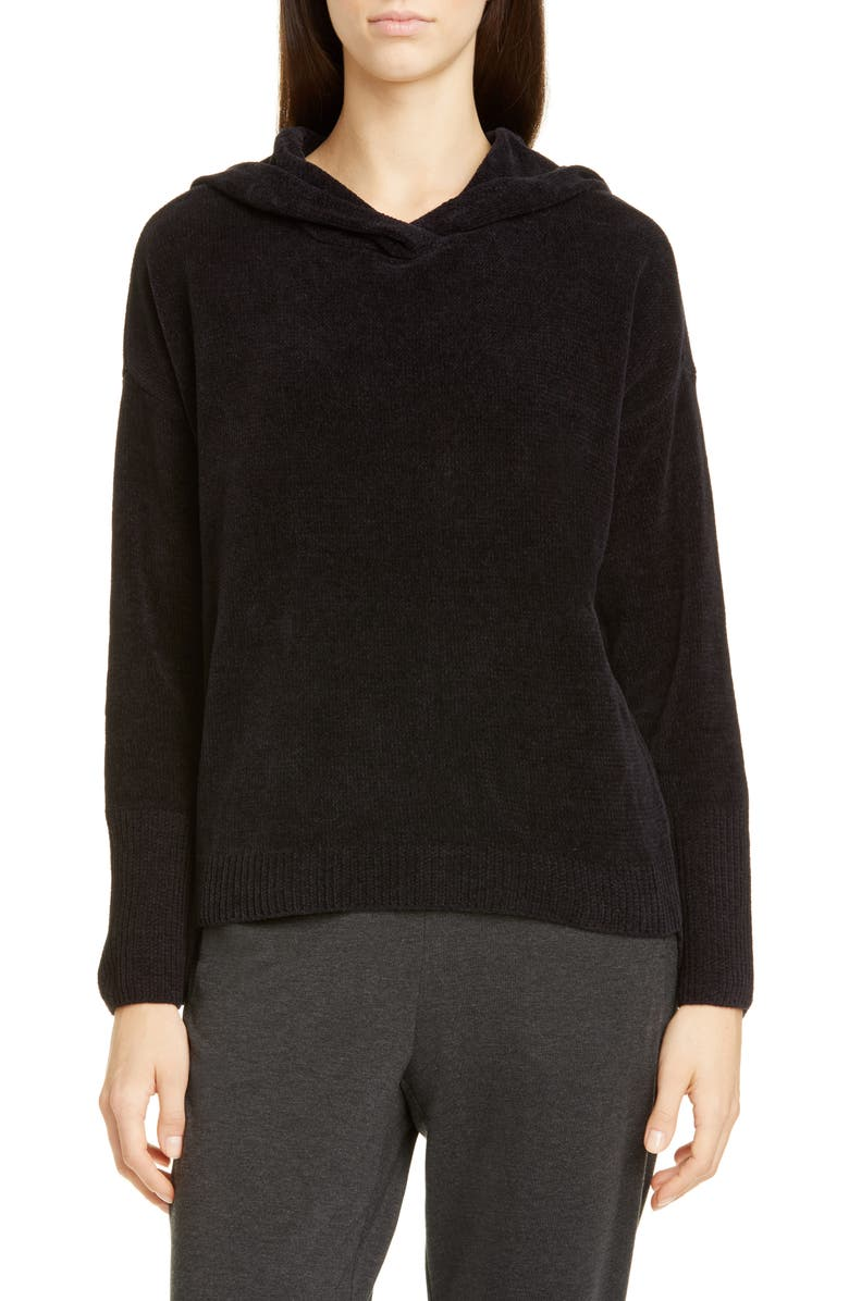 EILEEN FISHER Hooded Boxy Organic Cotton Top, Main, color, BLACK
