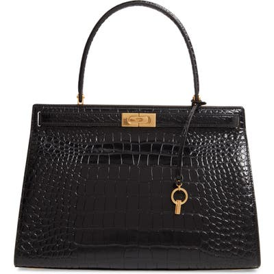 Tory Burch Lee Radziwill Croc Embossed Leather Satchel - Black