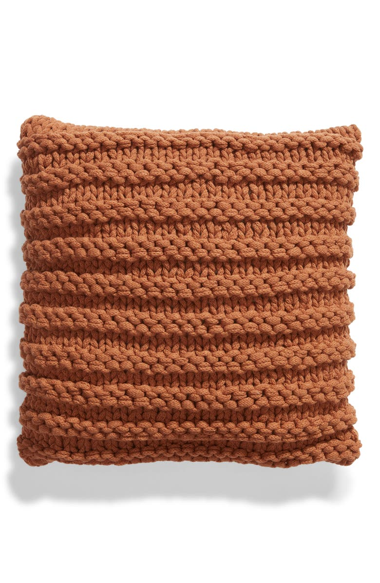 TREASURE & BOND Chunky Knit Accent Pillow, Main, color, BROWN RUSSET