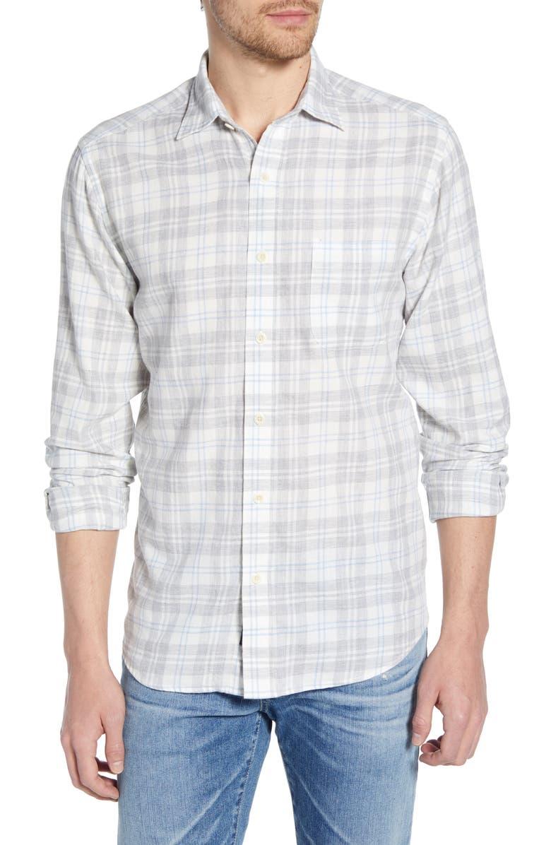 FAHERTY Everyday Regular Fit Plaid Shirt, Main, color, GREY CREAM PLAID