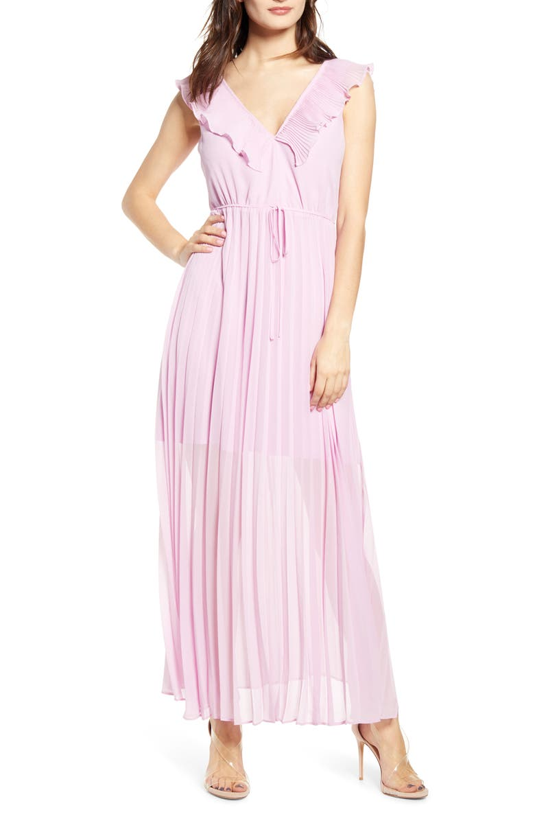 LEITH Knife Pleat Sleeveless Maxi Dress, Main, color, PINK BOUQUET