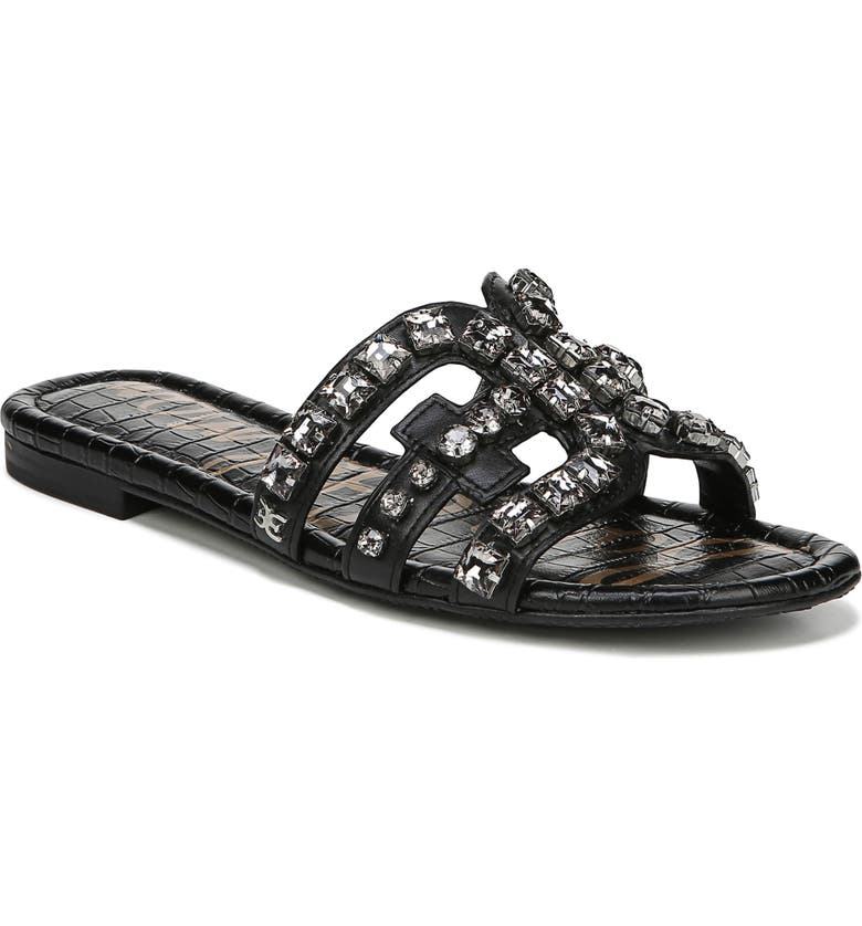 SAM EDELMAN Bay 2 Embellished Slide Sandal, Main, color, BLACK NAPPA LEATHER