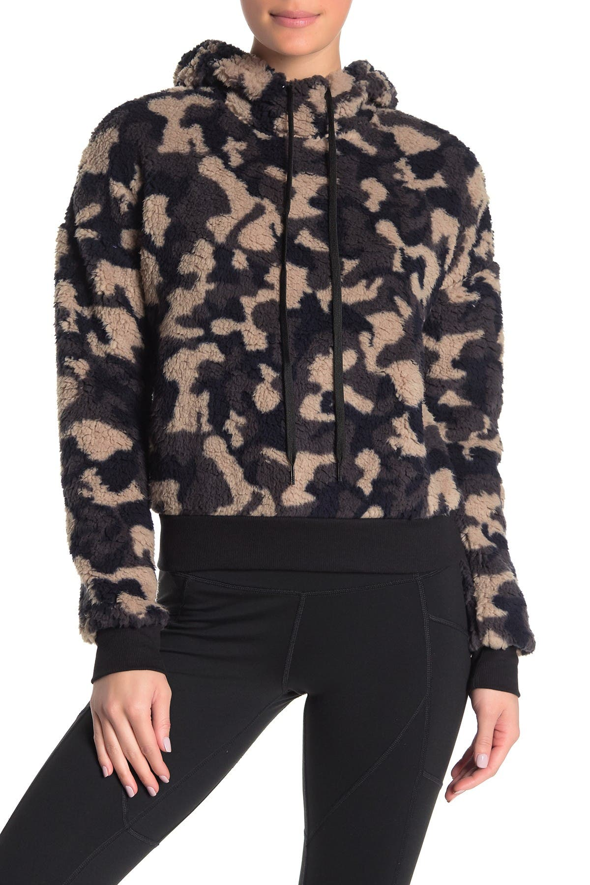 Image of Z By Zella Faux Shearling Camouflage Hooded Sweater