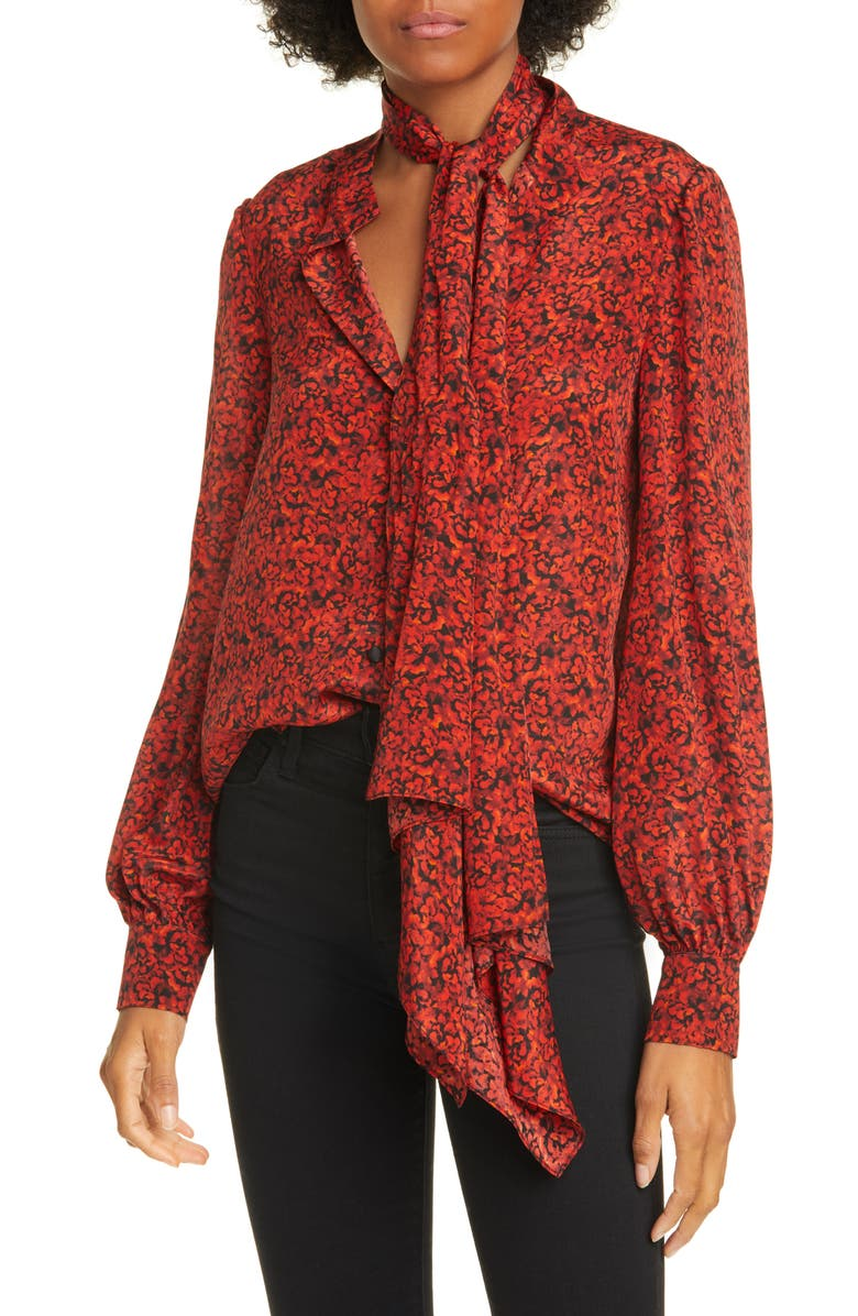 ALICE + OLIVIA Tammy Removable Tie Long Sleeve Blouse, Main, color, PETITE DREAM SCARLET
