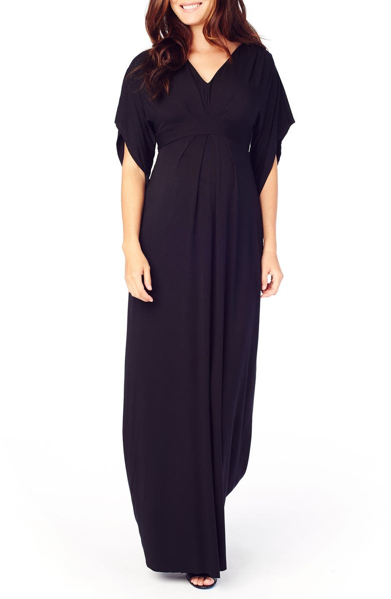 INGRID & ISABEL<SUP>®</SUP> Ingrid & Isabel Split Sleeve Maternity Maxi Dress, Main, color, JET BLACK