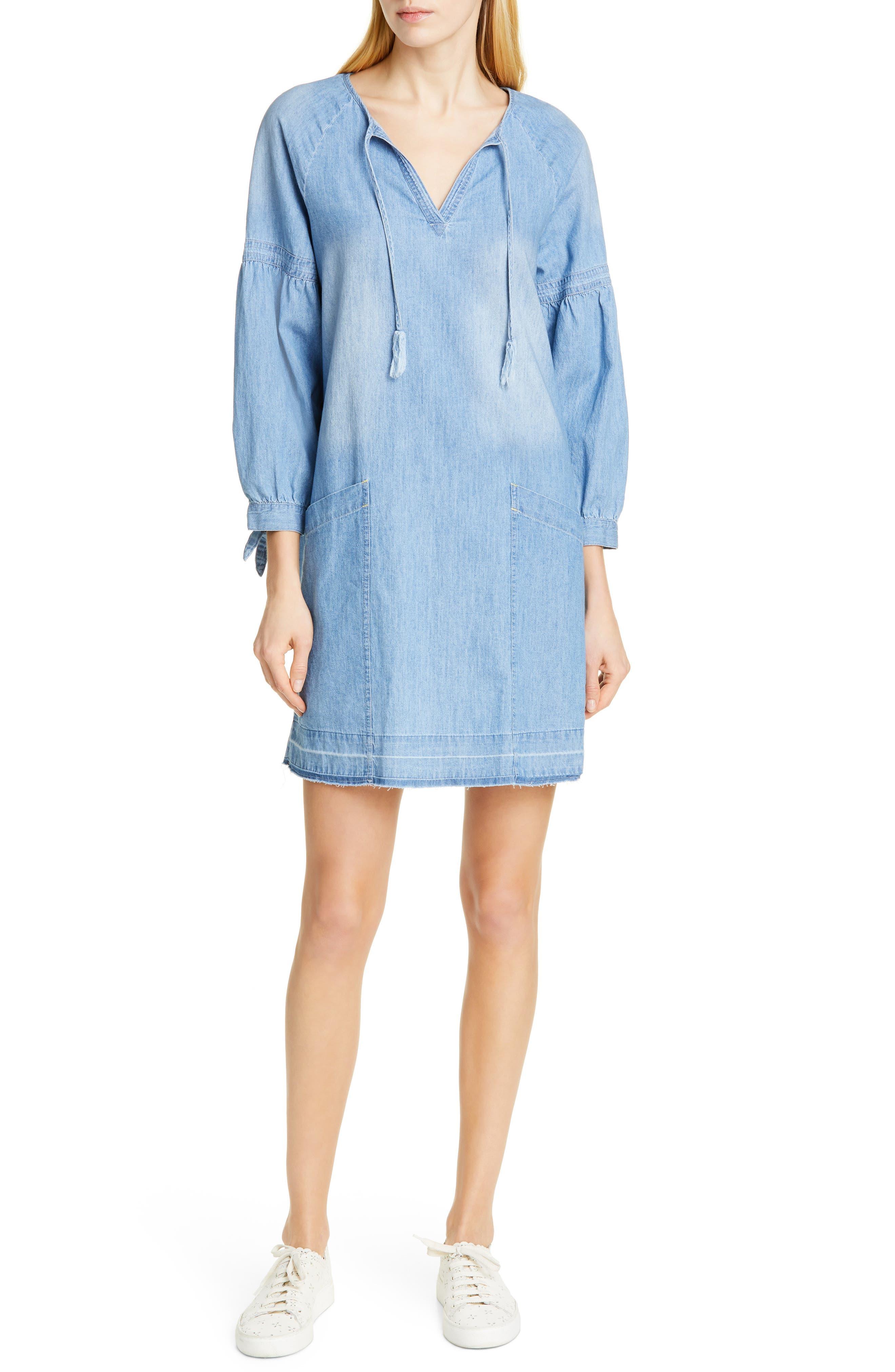 Dolan Kim Split Neck Cotton Chambray Shift Dress, Blue