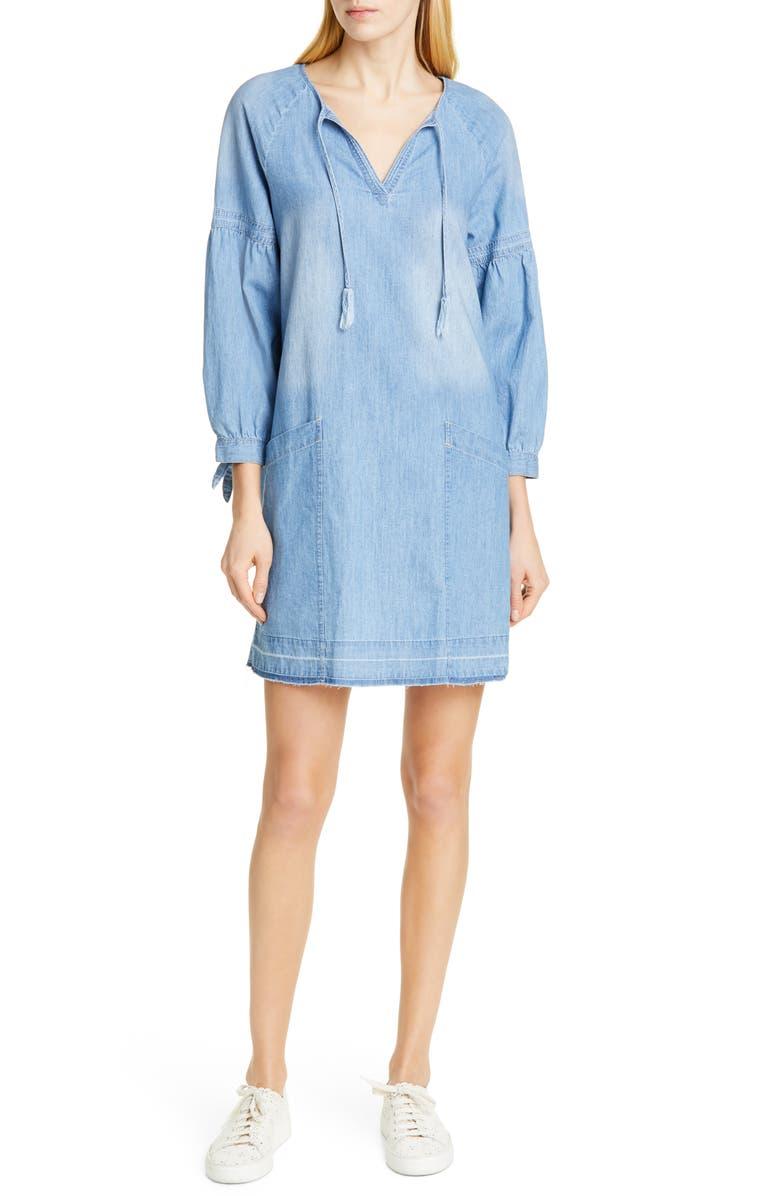 DOLAN Kim Split Neck Cotton Chambray Shift Dress, Main, color, 421