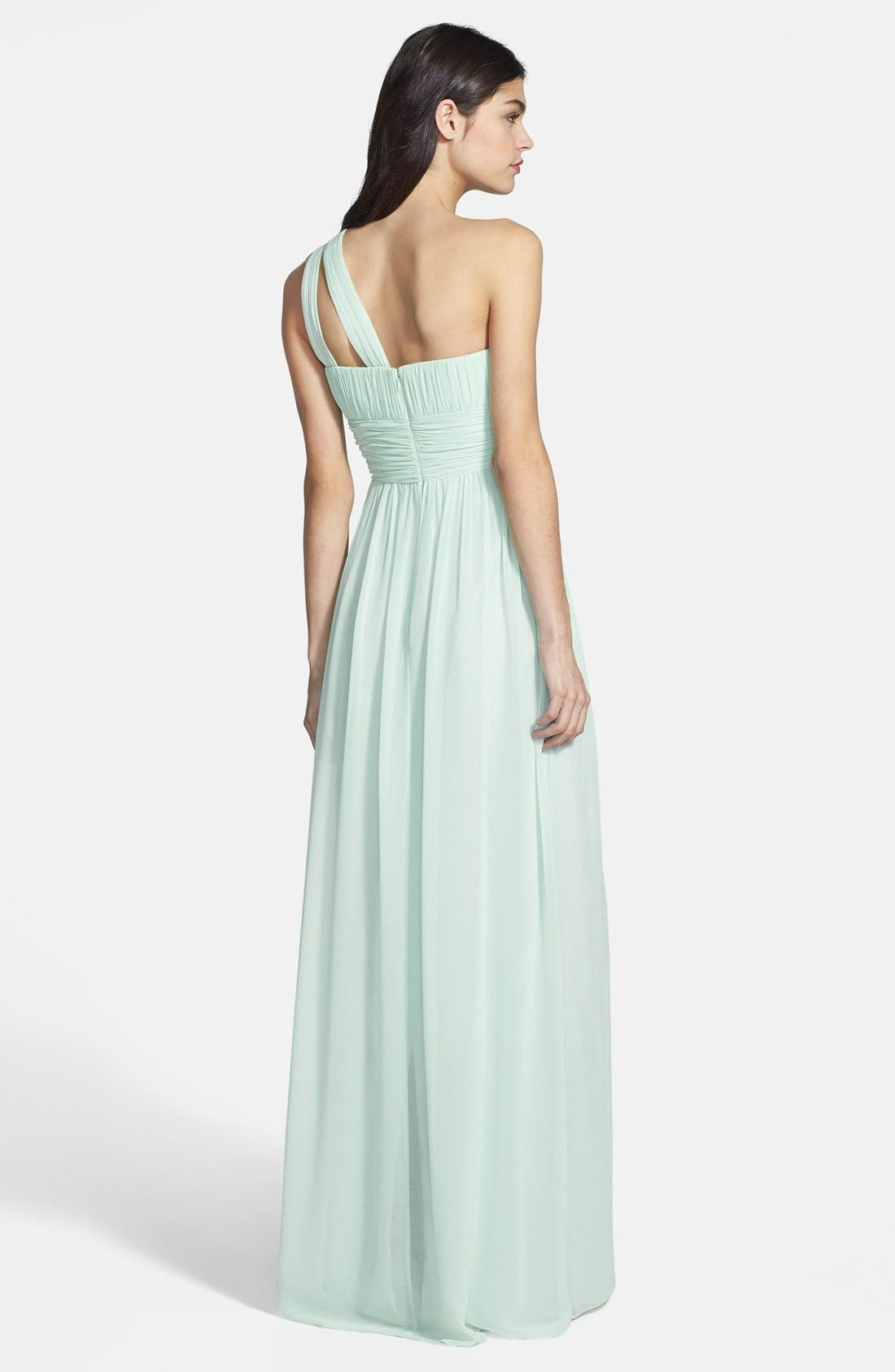 ,                             'Rachel' Ruched One-Shoulder Chiffon Gown,                             Alternate thumbnail 55, color,                             338