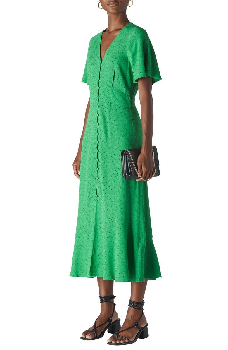 WHISTLES Microspot Midi Dress, Main, color, GREEN/ MULTI