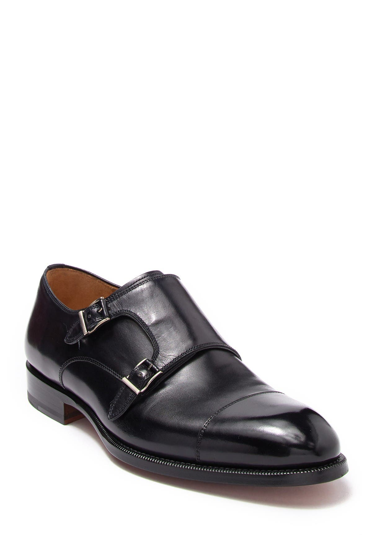 Image of Magnanni Leather Monk Strap Cap Toe Dress Shoe
