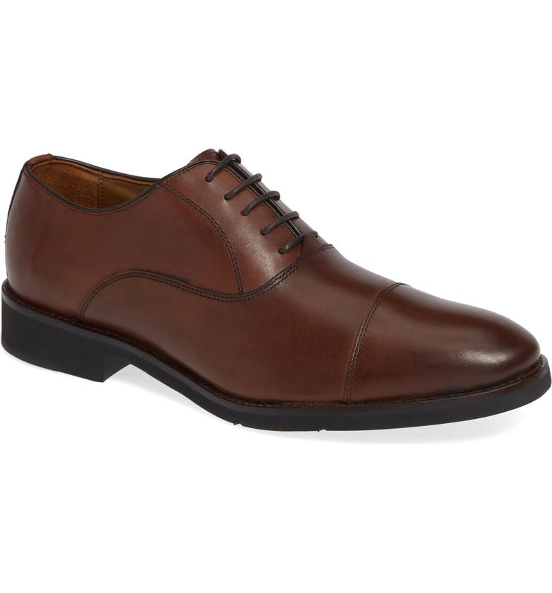 JOHNSTON & MURPHY Carlson Cap Toe Oxford, Main, color, OAK LEATHER