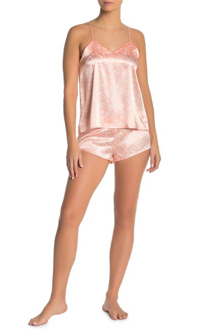 Image of COZY ROZY Heart Print Satin Camisole & Shorts 2-Piece Pajama Set