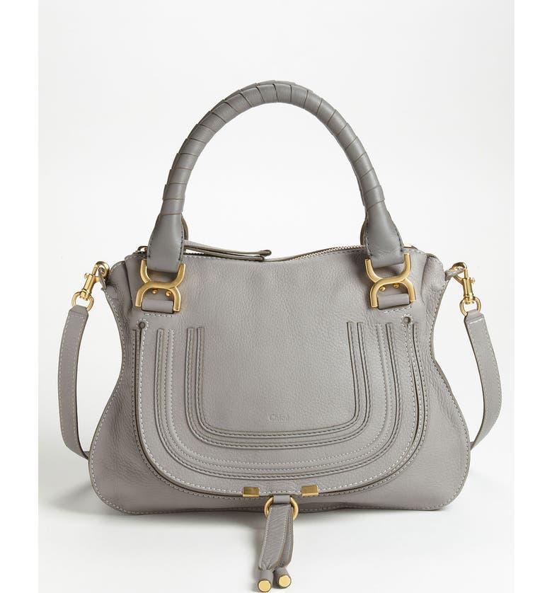 CHLOÉ Medium Marcie Calfskin Leather Satchel, Main, color, CASHMERE GREY GOLD HRDWRE
