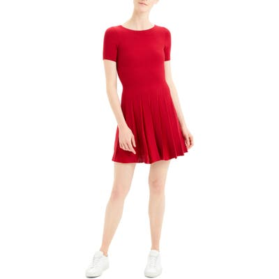 Theory Pleated Fit & Flare Dress, Red