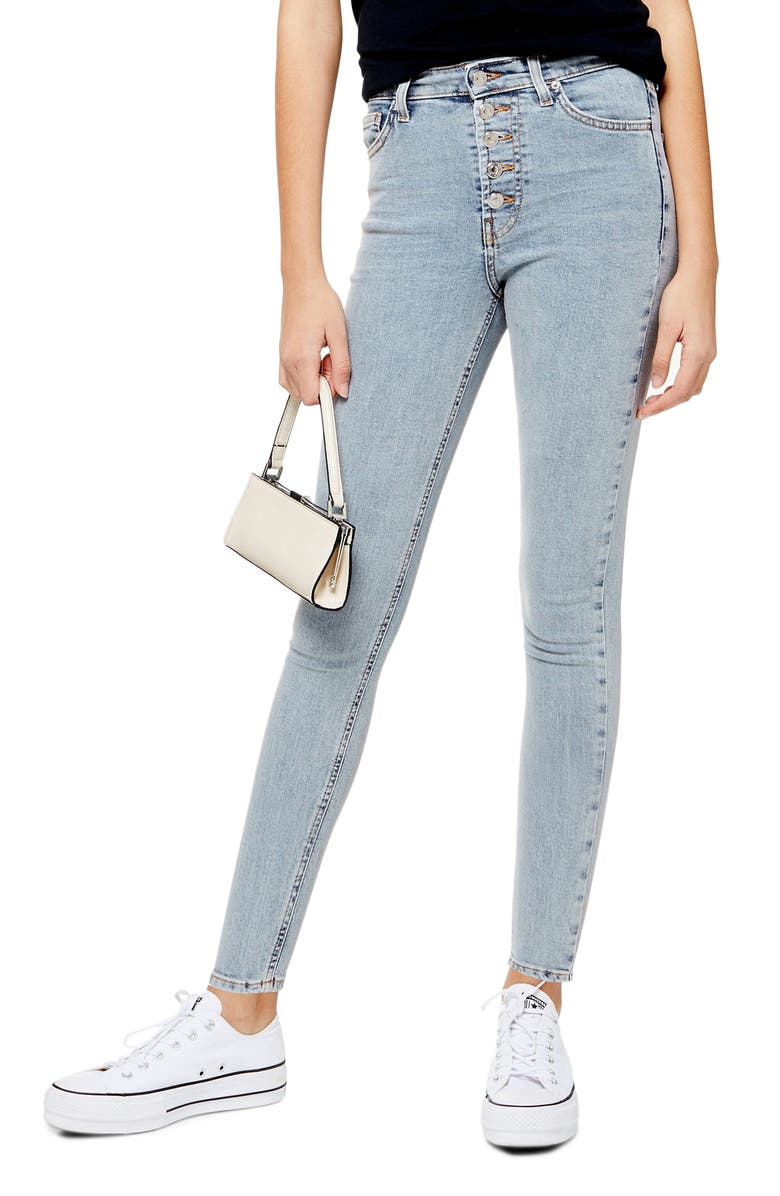 TOPSHOP Jamie Button Fly High Waist Ankle Skinny Jeans, Main, color, BLEACH