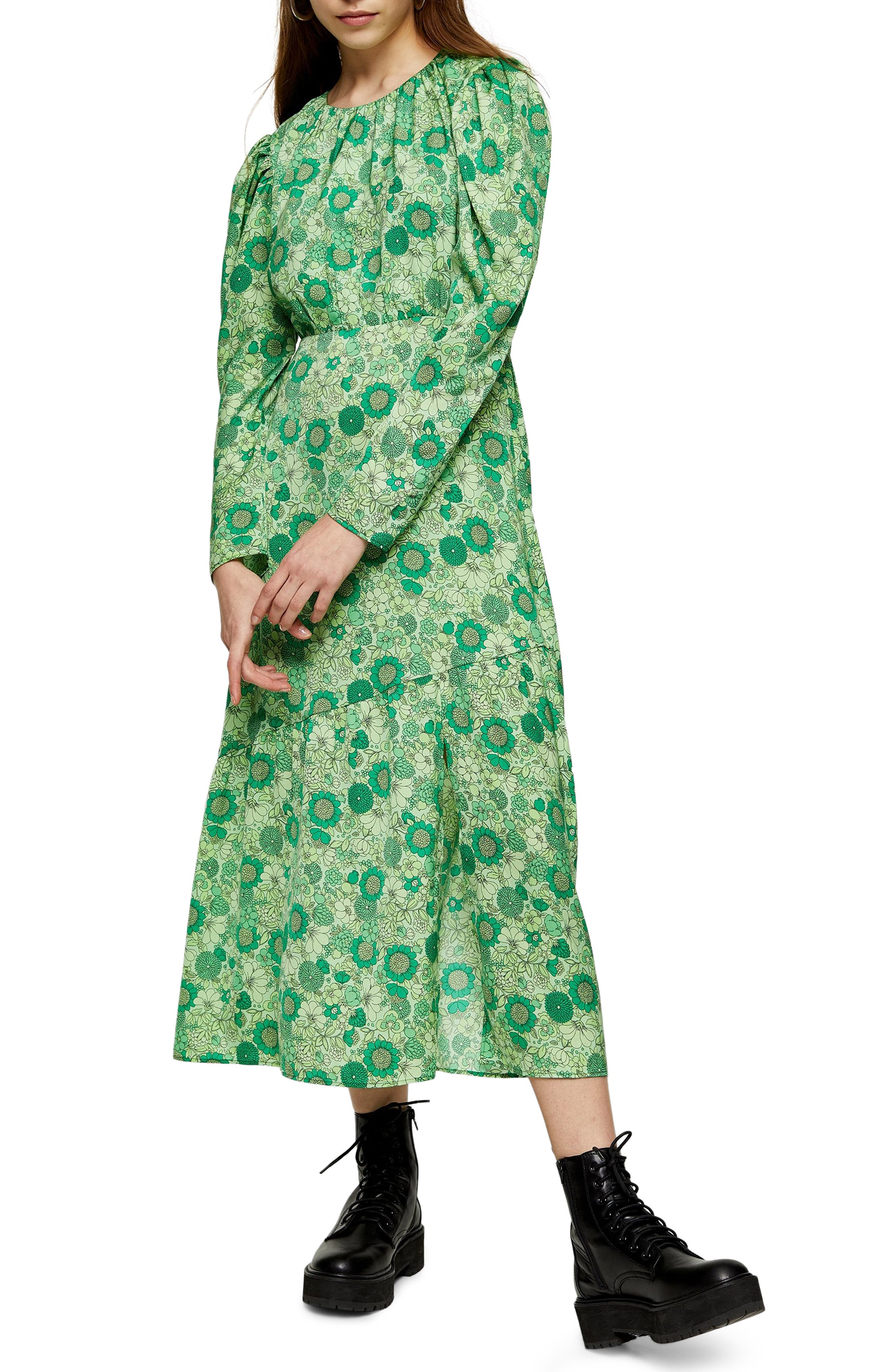 New Womens Ex Topshop Green/&White Ditsy Floral Print Jersey Midi Dress Size 4-14