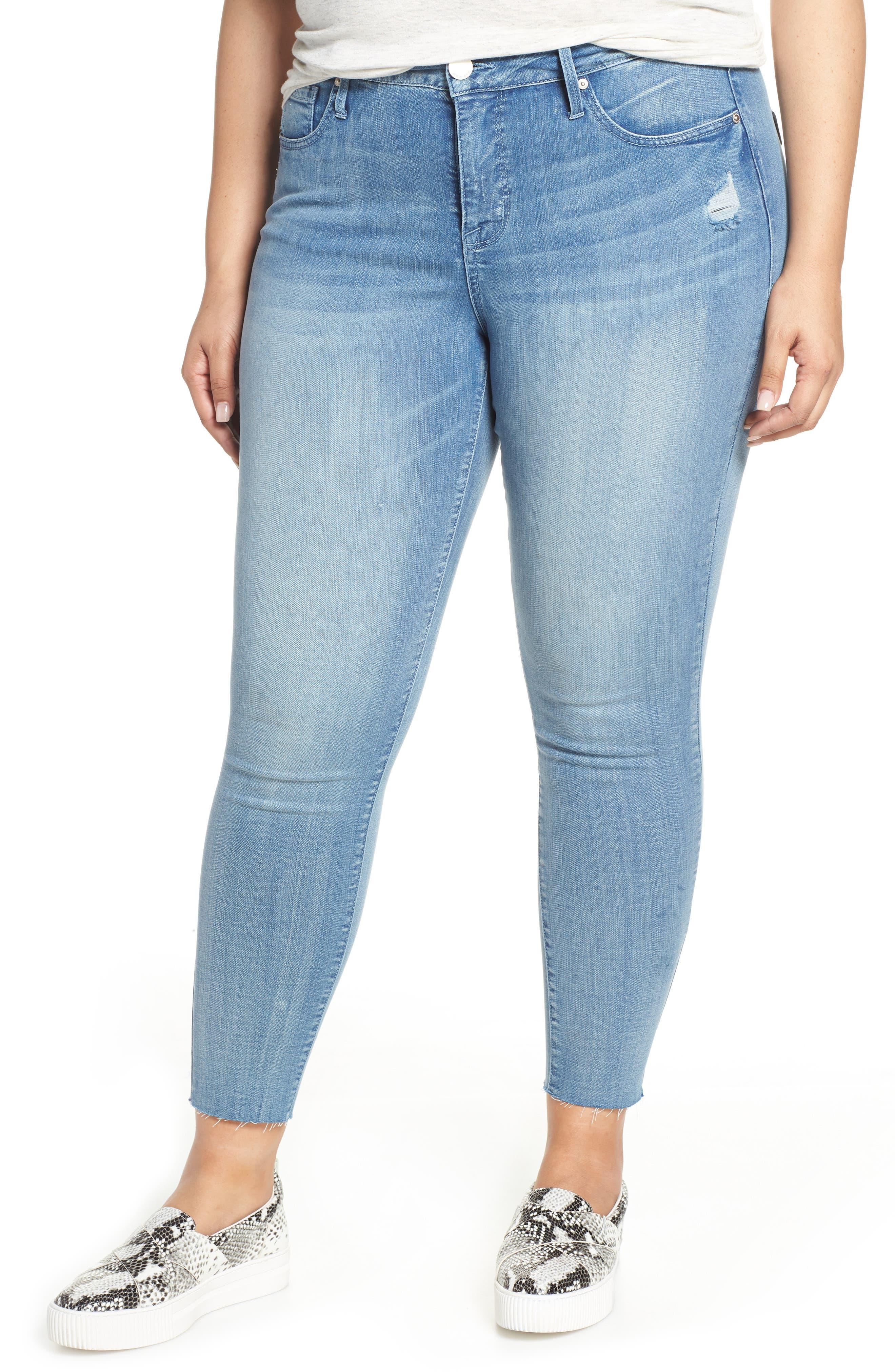 Plus Women's Seven7 Raw Hem Ankle Skinny Jeans