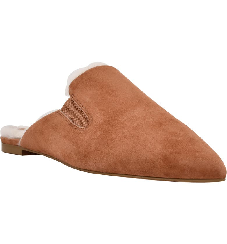 MARC FISHER LTD Saraly Faux Fur Lined Mule, Main, color, NATURAL SUEDE
