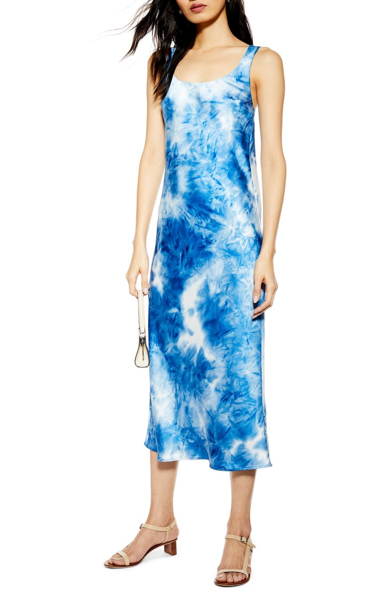 TOPSHOP Tie Dye Slipdress, Main, color, BLUE MULTI