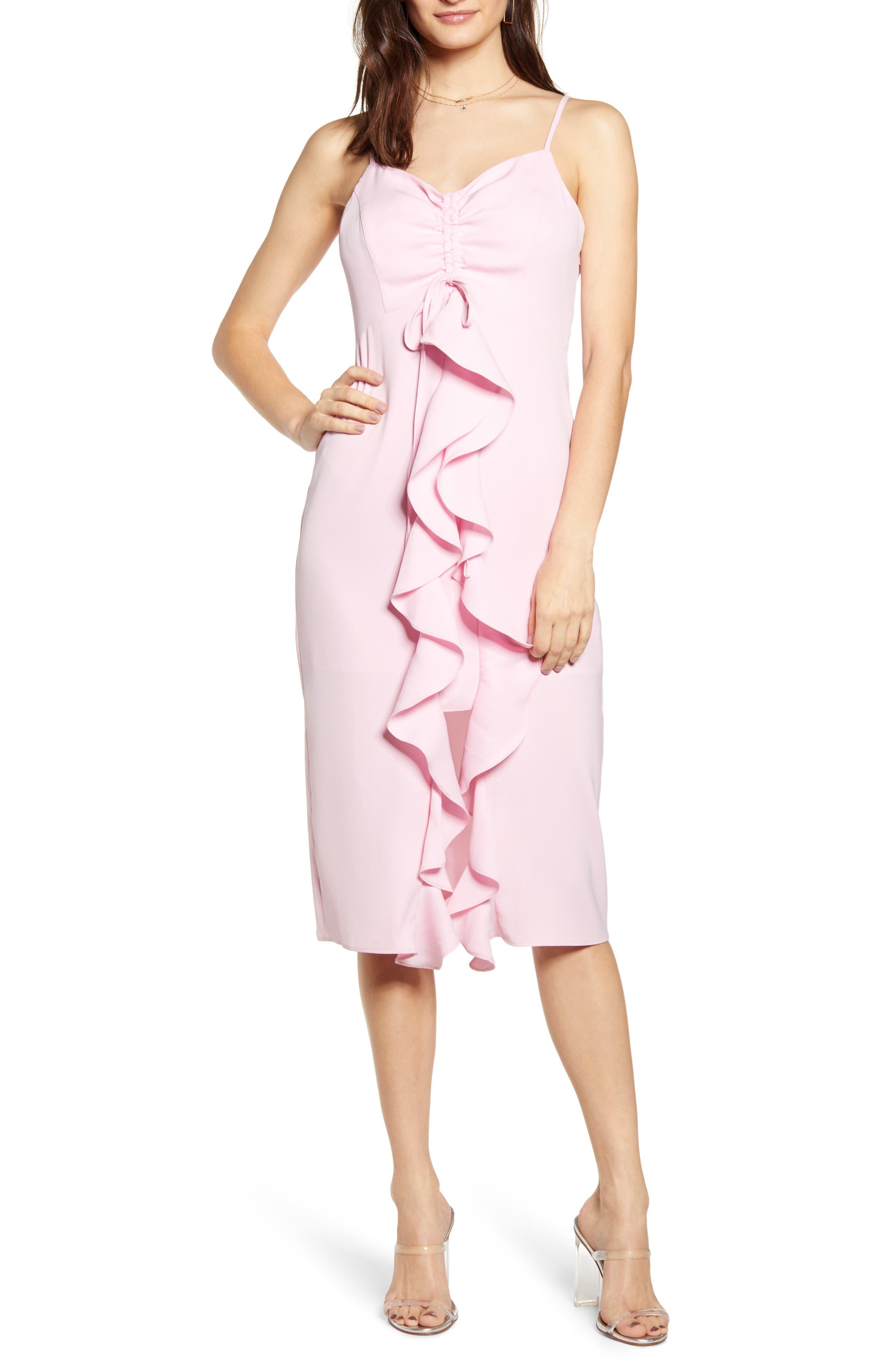 Endless Rose Strapless Ruffle Front Midi Dress, Pink