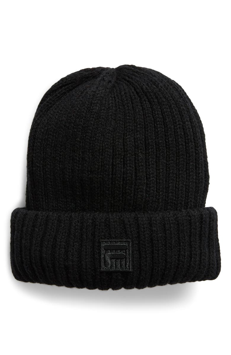 THE HERITAGE COLLECTION FILA Rib Shoreman Beanie, Main, color, BLACK