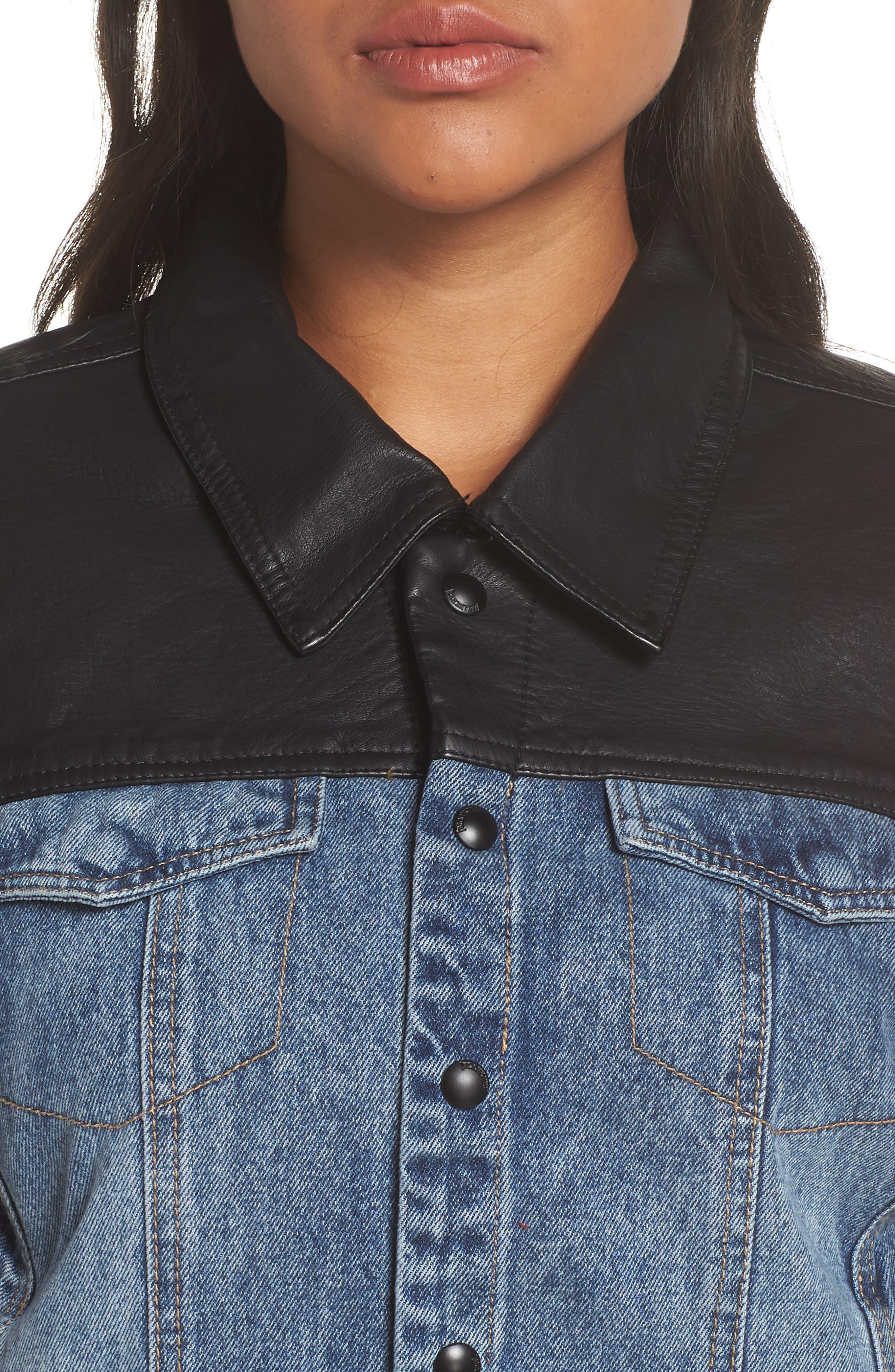 ,                             Faux Leather & Denim Jacket,                             Alternate thumbnail 11, color,                             001