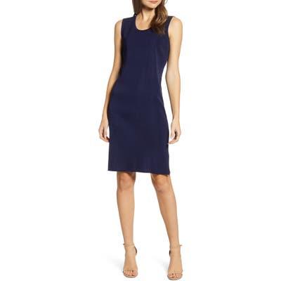 Ming Wang Scoop Neck Knit Sheath Dress, Blue