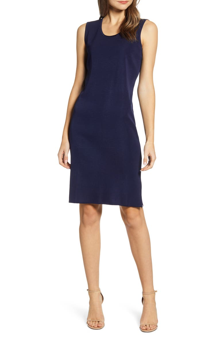 MING WANG Scoop Neck Knit Sheath Dress, Main, color, INDIGO